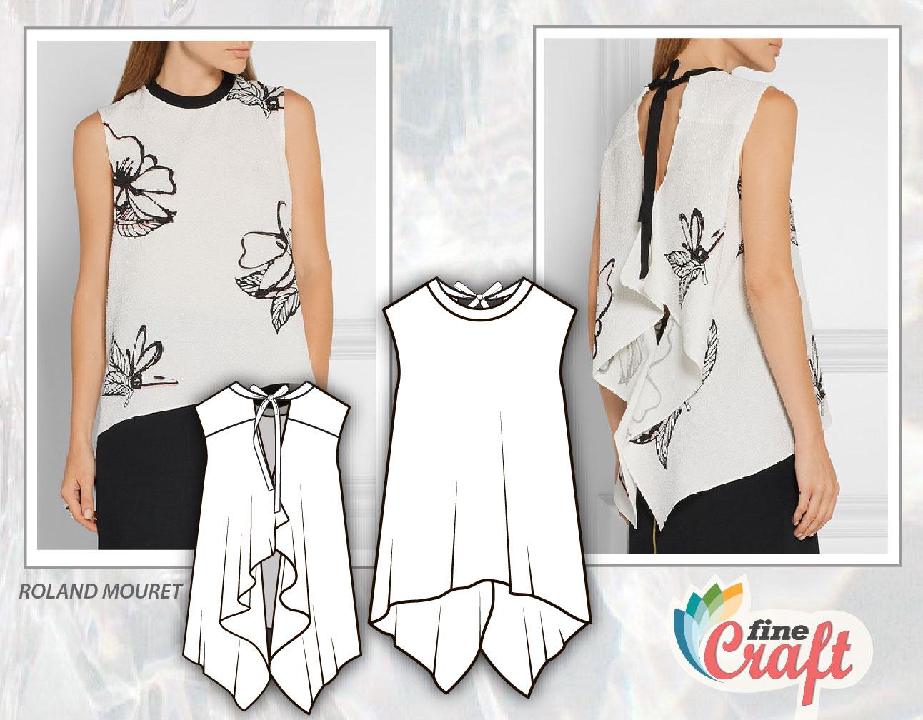 Эскиз модели женской блузы